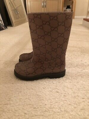 4cd86c793 Kids GUCCI Signature GG Print Rubber Rain Boots Size Youth 7.5 (EUR 24) -