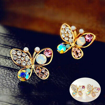 982283acb 1 Pair Ladies Chic Lovely Crystal Rhinestone Hollow Butterfly Ear Stud  Earrings