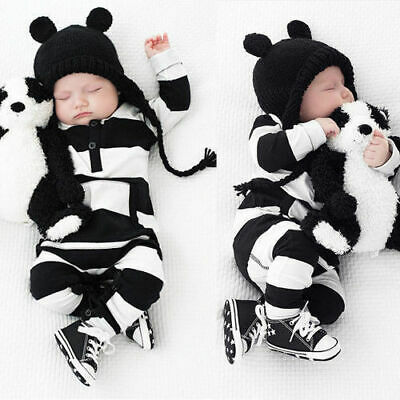 Newborn Baby Boy Girls Striped Cotton Romper Jumpsuit Bodysuit Outfit Clothes