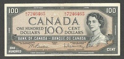1954 $100.00 BC-43b VF+ SCARCE Bank of Canada QEII Nice OLD One Hundred Dollars