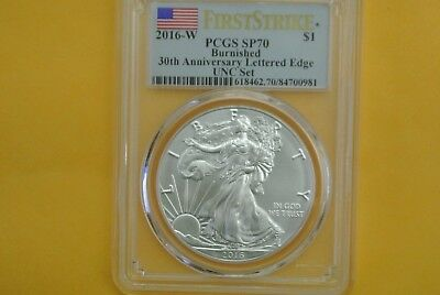 2016-W Silver Eagle Burnished PCGS SP70 FIRST STRIKE - ANNUAL DOLLAR (UNC) SET