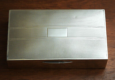 H Bros Art Deco Silver Cigarette Box Hallmarked Leather Skin Base and Wood-lined