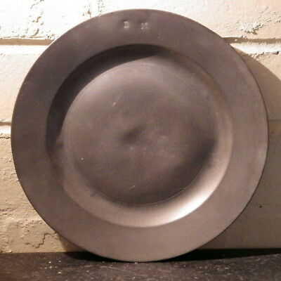 19TH CENTURY Victorian PEWTER PLATE (Initialled BM)