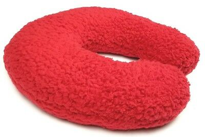 Soft & Cozy Neck Support Travel Pillow W/Memory Foam. RED Headrest