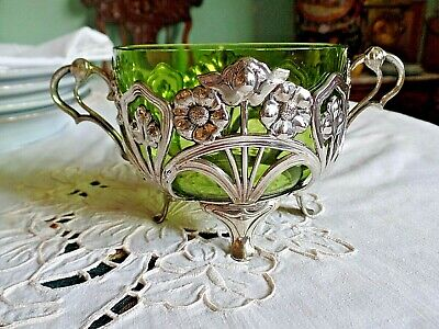 Art Nouveau Jugendstil WMF EPNS Bon Bon Dish with Green Glass Liner