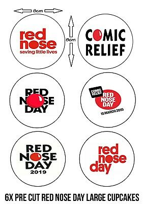 Bbc Red Nose Day Charity Edible Icing Extra Large 8Cm Cupcakes Ready Pre Cut