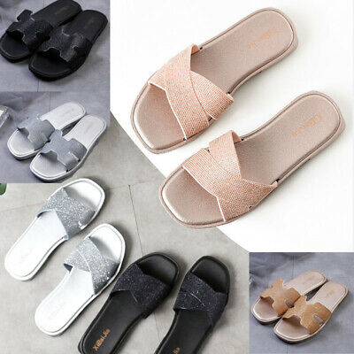 Womens Ladies Flat Striped Sliders Summer Slip On Mules Slippers Sandals Shoes