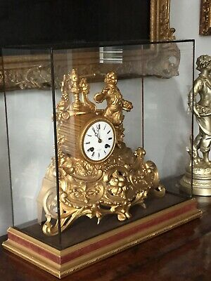 Antique Vintage Mantel Clock Henry Marc Japy Freres Glass Case Dome