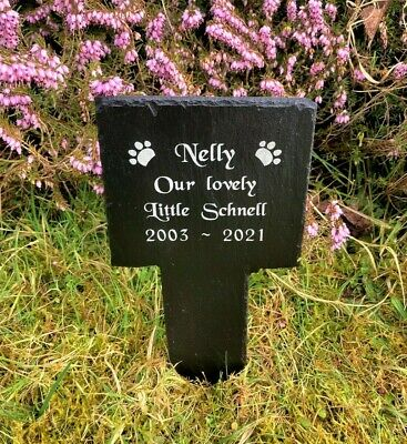 Personalised Engraved Pet Memorial Slate Stake Grave Marker Plaque Dog Cat