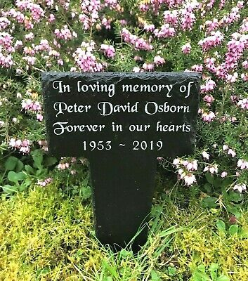 Personalised Engraved Memorial Natural Slate Stake Grave Marker Plaque