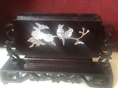 Chinese Lacquered and Mother of Pearl Card Holder Inlaid With Birds