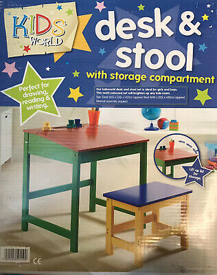 Kids Desk & Stool With Storage Compartment Perfect For Drawing Reading & Writing