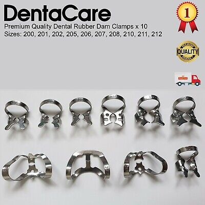Dental Restorative set of 10 Rubber Dam Clamps / Colliers - Best of the Best
