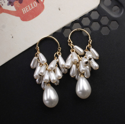 1 Pair Boho Women Hoop Pearl Drop Dangle Fashion Party Earrings Jewelry
