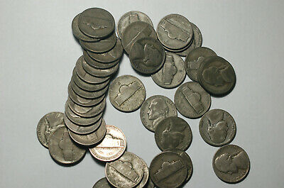 Lot of Silver Jefferson War Nickels:  total of forty 35% Silver WWII nickels