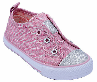 Girls Elasticated Slip-On Pink Glitter Plimsolls Pumps Infant Kids Shoes Sizes 3