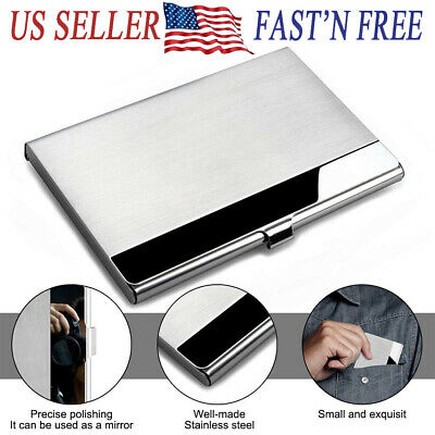 Pocket Stainless Steel Business Card Holder Case Metal ID Credit Name Box Wallet