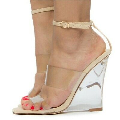 da0695f9398 LILIANA RAMPAGE CLEAR Nude Double Band Ankle Strap Clear Lucite Wedge Heel