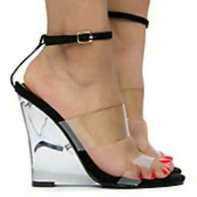 26c9dda1072 Liliana RAMPAGE Clear Black Double Band Ankle Strap Clear Lucite Wedge Heel