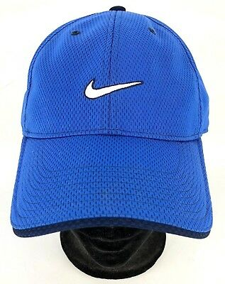 ecb49d82d727f Nike Strap back Blue Hat Ball Cap Fitted Mesh Athletic Swoosh Logo Golf  Running