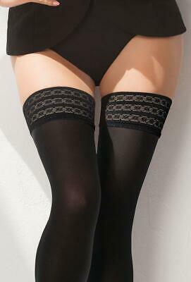 557c981fd6b41 Gatta Gigi Elegant Opaque Sheer Quality Hold Ups Fancy Patterned Lace 60  Denier