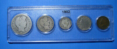 1902 US Coin Year Set 5 Coins 90% Silver