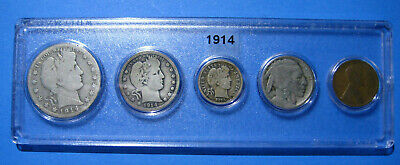 1914 US Coin Year Set 5 Coins 90% Silver