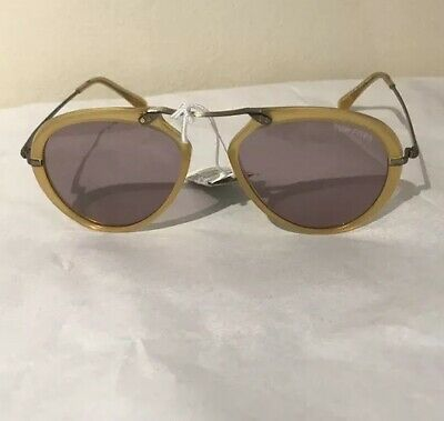 0ce28281e550b NEW TOM FORD Aaron Shiny Yellow Violet Lens Pilot Sunglasses TF 473 FT 0473  39Y Women s Accessories