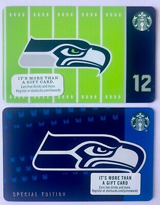 SEATTLE SEAHAWKS - Starbuck Gift Cards 2016 & 2018 - Limited Edition