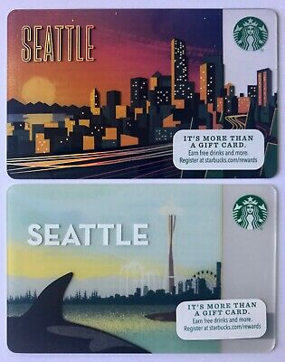 SEATTLE Starbucks Gift Cards - Qty 2 - One Each of Pictured Limited Editions