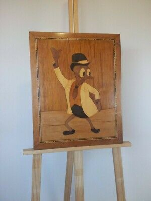 Antique Marquetry Wall art Cartoon Duck 1920s Vintage Wood Inlay Picture Bar
