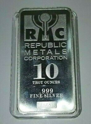 10 Troy Ounces Oz .999 Fine Silver Bar Republic Metals Corp (Rms) With Holder