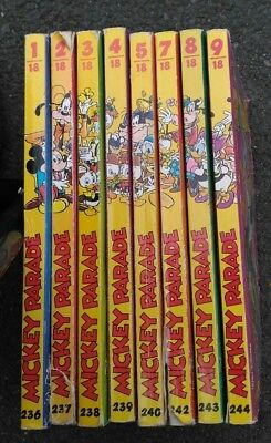 L0T 8 Mickey Parade env 1600 pages de bd LOT N' 236 237 238 239 240 242 243 244