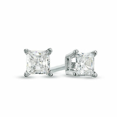 1/2 ct Princess Cut Man Made Diamond Solitaire Stud Earrings Real 14K White Gold