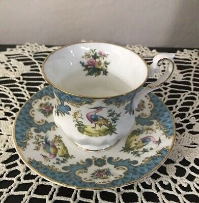 Tea Cup & Saucer Rosina Queen's Fine Bone China Teal With Birds