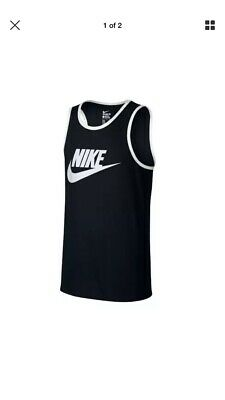 94e0dc3031974b NIKE SWR ACE LOGO MEN S TANK TOP ATHLETIC BLACK WHITE 779234-011 Size M