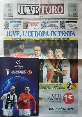 2018 JUVENTUS v MANCHESTER UNITED MAN UTD 2x CL PROGRAMME FROM GROUND