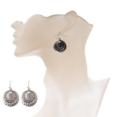 Women Vintage National Style Big Round Bronze Inlay Dangle Earrings Silver