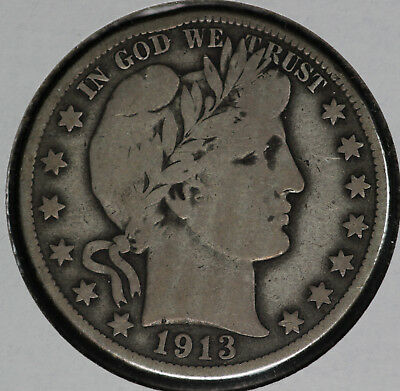 Nice Original 1913-D Barber Half Dollar!!