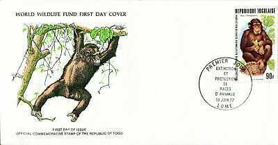 1977 Togolaise. Chimpanzee. World Wildlife Fund. WWF. First Day Cover. Monkey