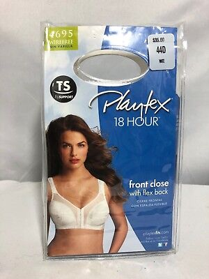 PLAYTEX 4695 18 Hour Front Close Flex Back Comfort Wirefree Bra 44D White