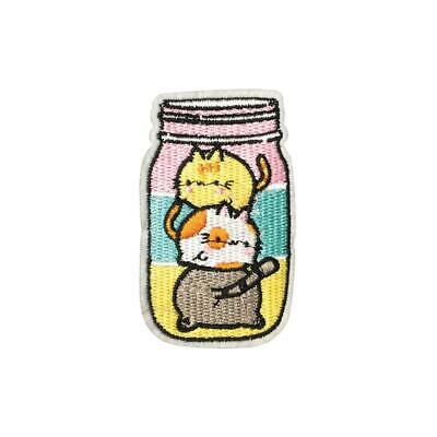 Kitty Cats Jar (Iron On) Embroidery Applique Patch Sew Iron Badge