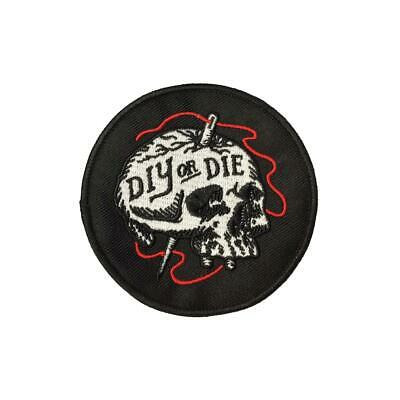 Diy Or Die Skull (Iron On) Embroidery Applique Patch Sew Iron Badge