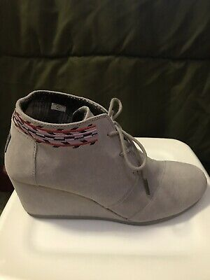 4db924f74ba Toms Womens Gray Size 11 Desert Ankle Booties Lace Up 3 Inch Wedge Suede  Boots