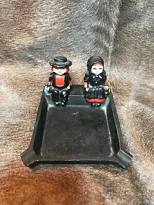 Vintage Cast Iron Ashtray. Amish Boy And Girl W/amish Girl Cigar Snuffer.Great!