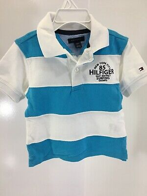 c489fd716 Tommy Hilfiger Boys Short Sleeve Polo Shirt Size 18M Blue Atoll/ White NWT