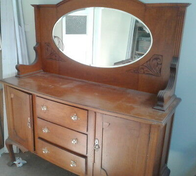 Antique Silky Oak Mirrored Sideboard 1920s
