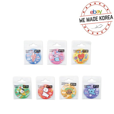 BTS BT21 Character Metal Circle Pin Badge 44x44mm Official K-POP Authentic Goods