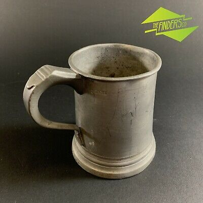 ANTIQUE c.1860 1/2 PINT PEWTER TANKARD ENGLISH VINTAGE VESSEL BREWERY BAR
