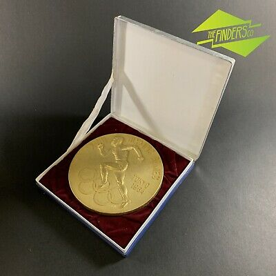 """Rare 1964 Tokyo Olympic Games Gold Plated Bronze 6"""" Commemorative Runner Plaque"""